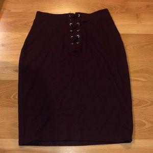 Maroon Mid-length Skirt
